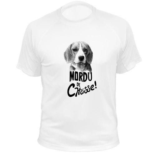 vêtement de chasse humoristique, t-shirt blanc beagle