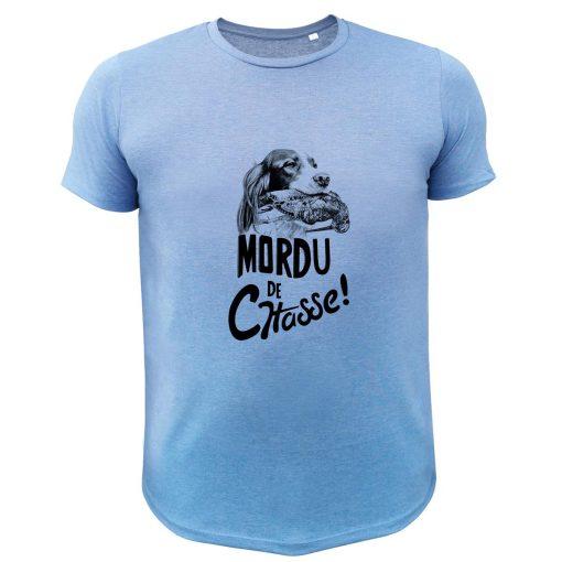 tee-shirt de chasse humoristique bleu, bécasse, setter