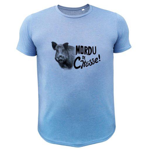 vêtement de chasse humoristique, t-shirt bleu sanglier
