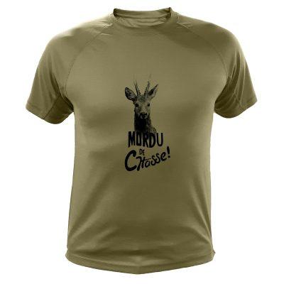 tee-shirt de chasse humoristique kaki, chevreuil