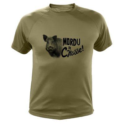 vêtement de chasse humoristique, t-shirt kaki, sanglier
