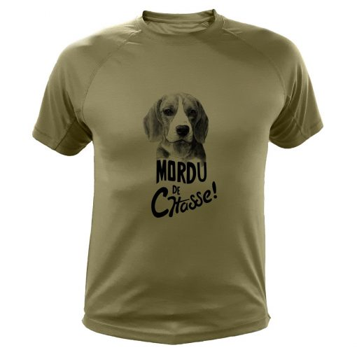tee-shirt de chasse humoristique, kaki, chien