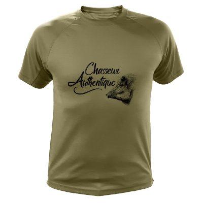 cadeau de Noël, tee-shirt de chasse kaki avec sanglier