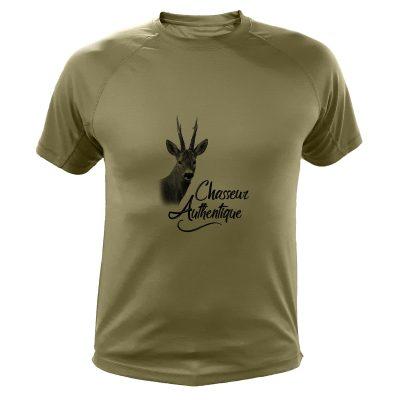 t-shirt original pour chasseur, kaki avec cerf