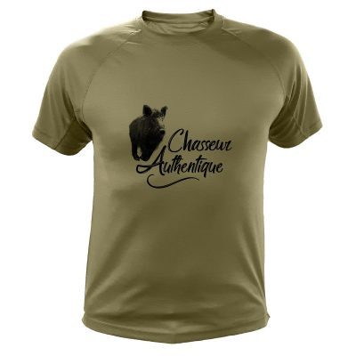 idée cadeau de Noêl pour chasseur, tee-shirt kaki avec sanglier
