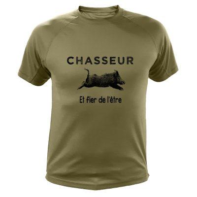 t-shirt original pour chasseur, kaki avec sanglier