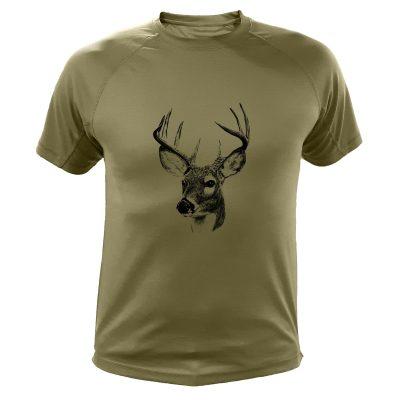 idée cadeau de Noêl pour chasseur, tee-shirt kaki avec cerf