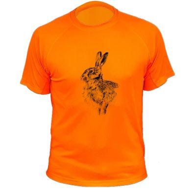 tee-shirt de chasse orange fluo avec lièvre, cadeau pour enfant