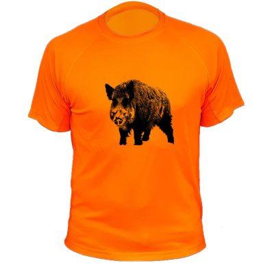 t-shirt de chasse orange fluo avec sanglier