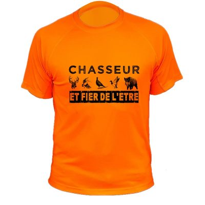 tee-shirt orange fluo, chasse au gros gibier