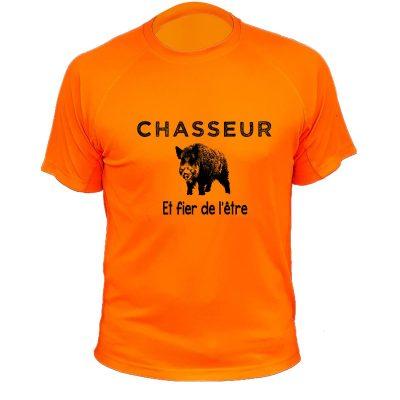 article de chasse, tee-shirt orange fluo