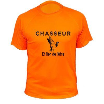 boutique de chasse, tee-shirt orange fluo