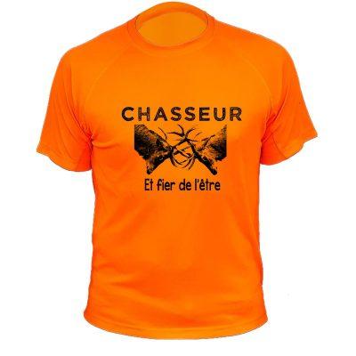 vêtement original pour un chasseur tee-shirt orange fluo