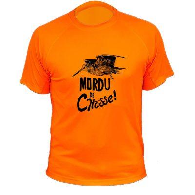 vêtement de chasse humoristique, t-shirt orange fluo, bécasse