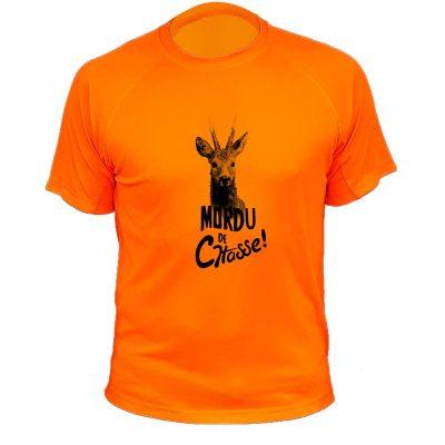 cadeau fête des pères, t-shirt chasseur orange fluo, chevreuil