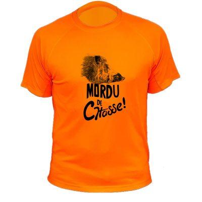 vêtement de chasse humoristique, t-shirt orange fluo, sanglier
