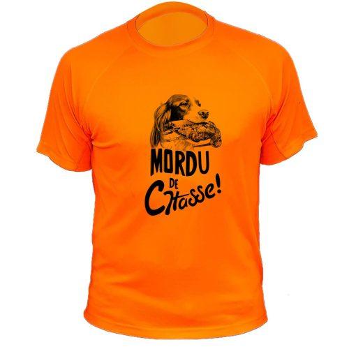boutique de chasse, t-shirt original orange fluo, setter, bécasse