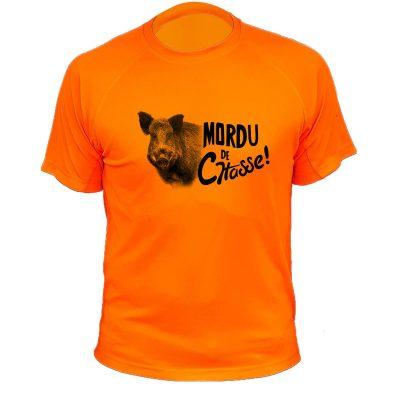 vêtement de chasse humoristique, t-shirt orange fluo