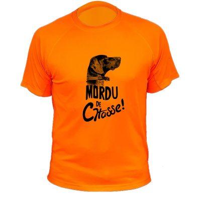 idée cadeau pour chasseur, tee-shirt orange fluo, braque