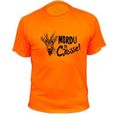 tee-shirt de chasse humoristique orange fluo, cerf