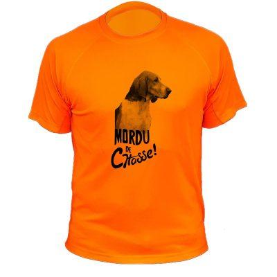 tee-shirt de chasse humoristique orange fluo, chien, courant anglo français