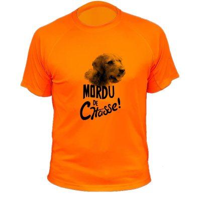 tee-shirt de chasse humoristique, orange fluo, chien