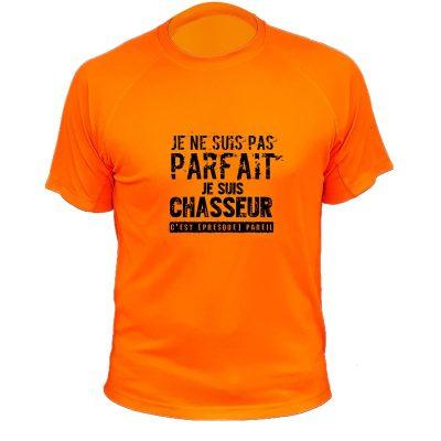 tee-shirt de chasse humoristique orange fluo