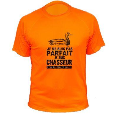 cadeau de Noël, tee-shirt de chasse orange fluo avec canard