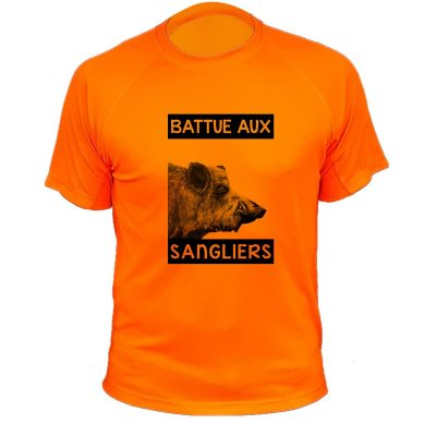 t-shirt de chasse humoristique, orange fluo, sanglier