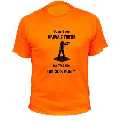 t-shirt de chasse humoristique, orange fluo