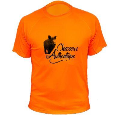 cadeau fête des pères pour un chasseur, t-shirt humoristique orange fluo