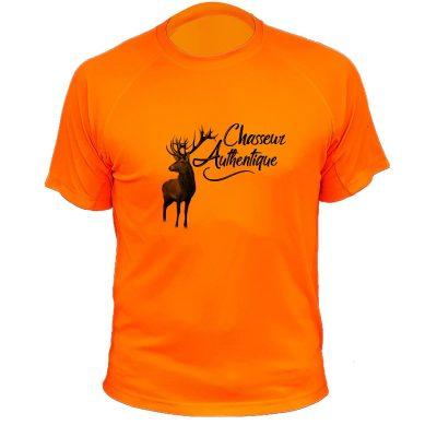 cadeau anniversaire chasseur, t-shirt orange fluo avec cerf