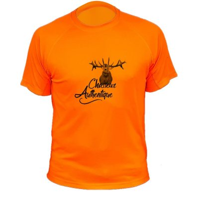 t-shirt original pour chasseur, orange fluo avec cerf
