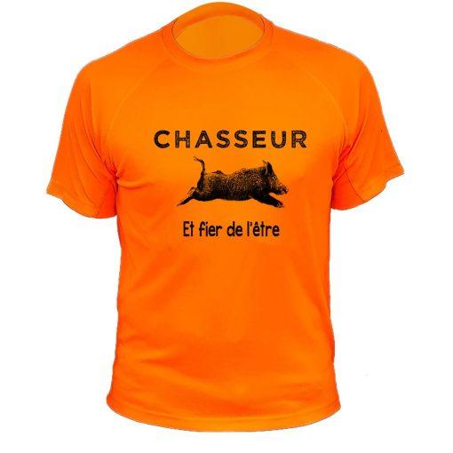 t-shirt humorisique pour chasseur orange fluo avec sanglier