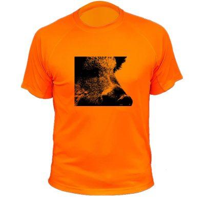 t-shirt de chasse, cadeau original, sanglier, orange fluo