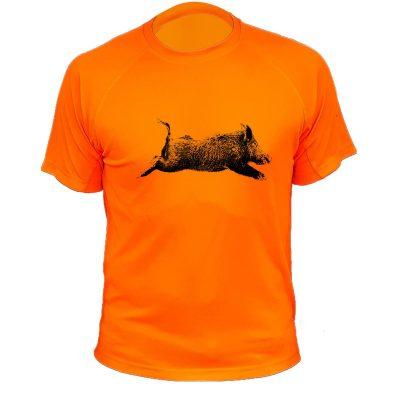 cadeau anniversaire chasseur, t-shirt sanglier orange fluo