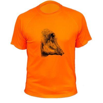 tee-shirt sanglier orange fluo