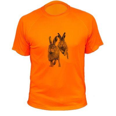 idée cadeau de Noêl pour chasseur, tee-shirt orange fluo lapins