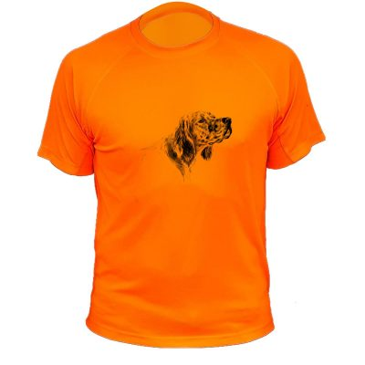 t-shirt de chasse, cadeau original, setter, orange flo