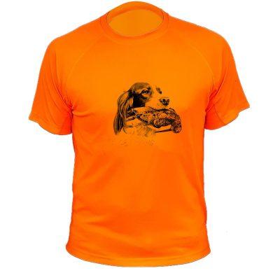 Cadeau Noël pour chasseur, t-shirt orange fluo setter