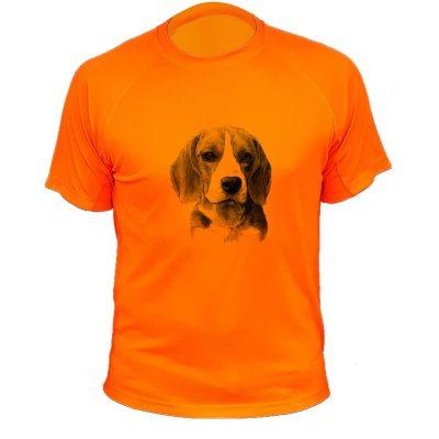 habit de chasse, cadeau original, orange fluo, beagle