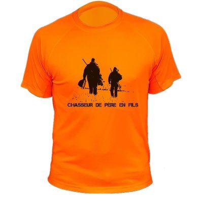t-shirt original pour chasseur, orange fluo