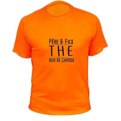 idée cadeau anniversaire chassuer, t-shirt orange fluo orange fluo