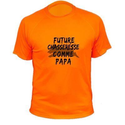 habit de chasse, cadeau original pour fille, orange fluo, sanglier