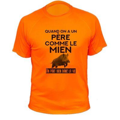 Cadeau Noël pour chasseur, t-shirt orange fluo pour enfant