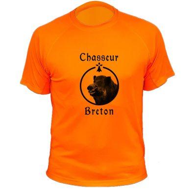 t-shirt de chasse, cadeau anniversaire, chasseur breton orange fluo