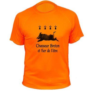 idée cadeau Noêl pour chasseur, tee-shirt orange fluo sanglier pour breton
