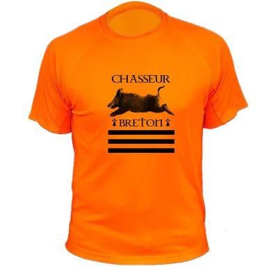 t-shirt de chasse, cadeau anniversaire, chasseur breton, orange fluo