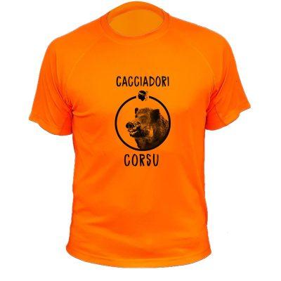 idée cadeau Noêl pour chasseur, tee-shirt sanglier orange fluo pour corse