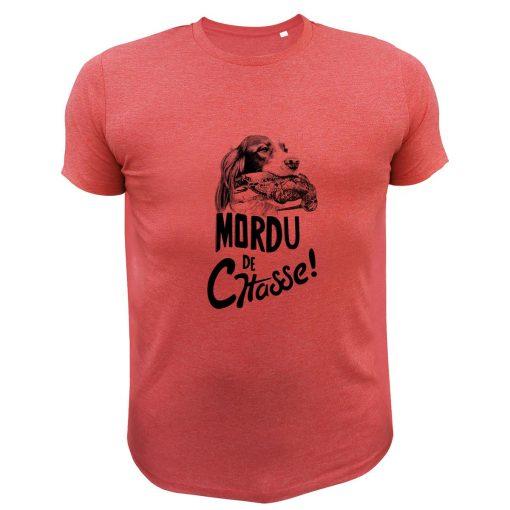 idée cadeau pour chasseur, tee-shirt rouge, bécasse, chien arret
